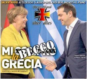 La Nazione, 19 agosto 2015-merkel-tsipras