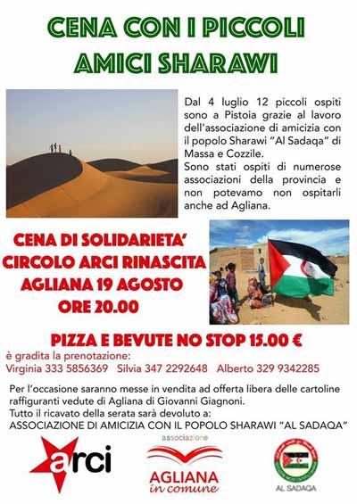 "AGLIANA. CENA DI SOLIDARIETÀ ALL'ARCI ""RINASCITA"""