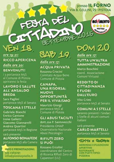 """5 STELLE, IN ARRIVO LA """"FESTA DEL CITTADINO"""""""