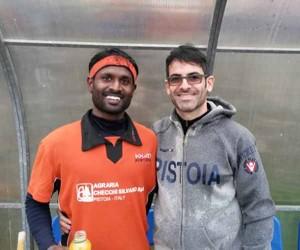 Il nuovo arrivato Selvaraju Sandrakasi con il coach Treno