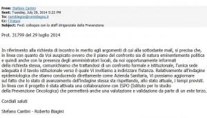 La mail del luglio 2014, trasmessa dalla Usl 3