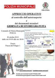 PESCIA, GIORNATA DI STUDIO PER LE FORZE DI POLIZIA LOCALE