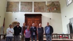 Nella foto da sinistra, Elio Germano, Alessandro Franchi (ass. Il borgo della Rocca), Daniele Piacenti, Lia Crabu (ass. Il borgo della Rocca), l'assessore Giuseppe Forastiero, don Vismara e il sindaco Lorenzini.