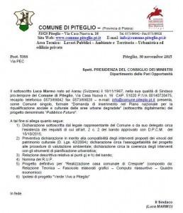 La lettera inviata alla Presidenza del Consiglio dei Ministri