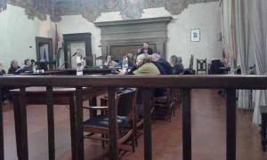 Giurlani parla durante la seduta della Consulta