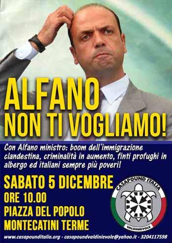 ALFANO A MONTECATINI, CASAPOUND ANNUNCIA CONTESTAZIONE