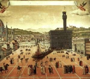 Piazza Signoria ai tempi del Savonarola