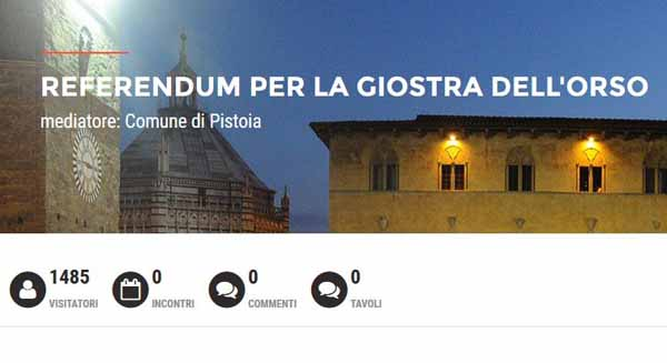 GIOSTRA DELL'ORSO, CONSULTAZIONE POPOLARE ON-LINE