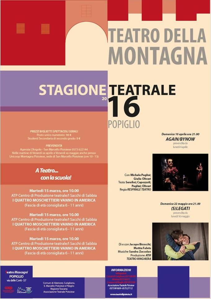 """teatro. STAGIONE DI PROSA 2016 AL """"MASCAGNI"""" DI POPIGLIO"""