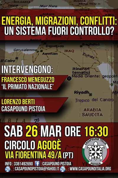 """""""MIGRAZIONI E CONFLITTI"""", INCONTRO DI CASAPOUND"""