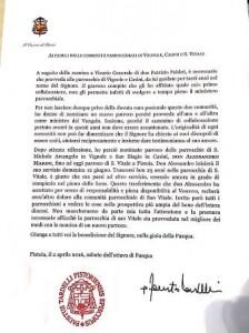 La lettera di monsignor Tardelli