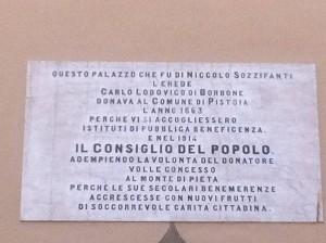 Lapide sul palazzo Sozzifanti/Buontalenti o Monte Pio