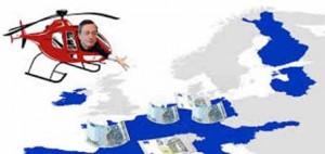 Mario Draghi in un volo di prova