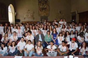 I volontari con Iozzelli, Cogoli e Bechini