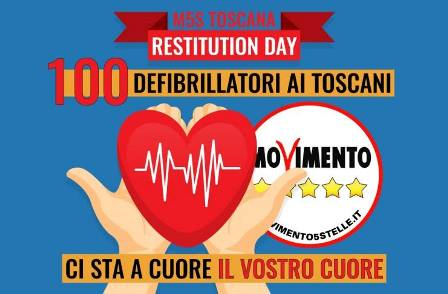 montemurlo. RESTITUTION DAY, IL M5S TOSCANA DONA DUE DEFIBRILLATORI