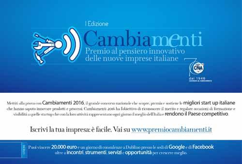 """""""PREMIO CAMBIAMENTI"""", IN PALIO 20 MILA EURO E CONSULENZE A DUBLINO"""