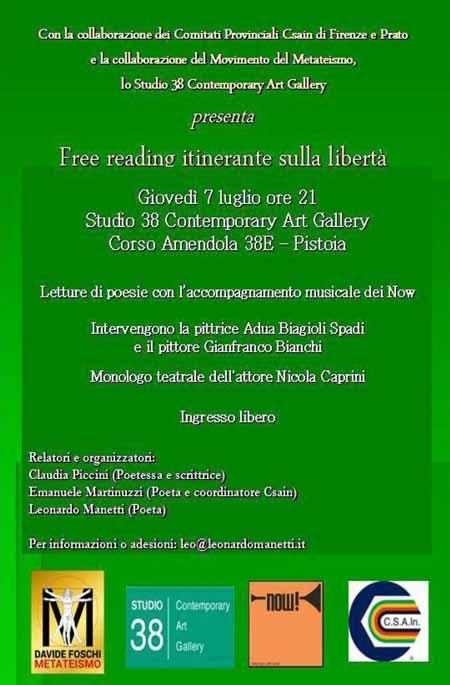 pistoia. FREE READING ITINERANTE SULLA LIBERTÀ
