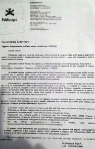 Una delle lettere di Publiacqua a Remo Martini