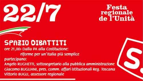 festa dell'unità santomato. DIBATTITO SULLE RIFORME PER L'ITALIA