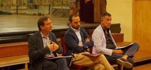 Sacchettini Bertinelli e Barsanti durante la conferenza stampa