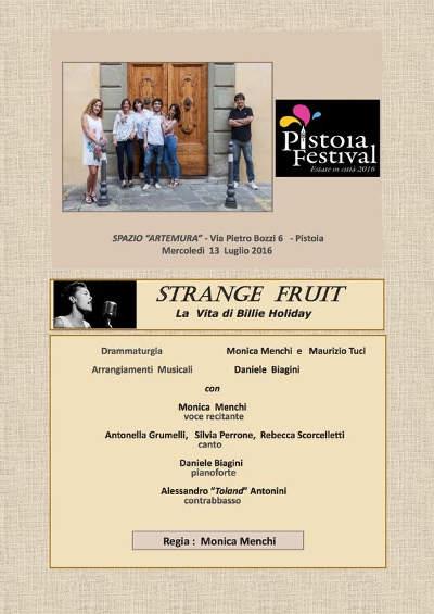 "strange fruit. BILLIE HOLIDAY ALLO ""SPAZIO ARTEMURA"""