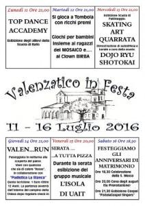 """Il programma 2016 di """"Valenzatico in festa"""""""
