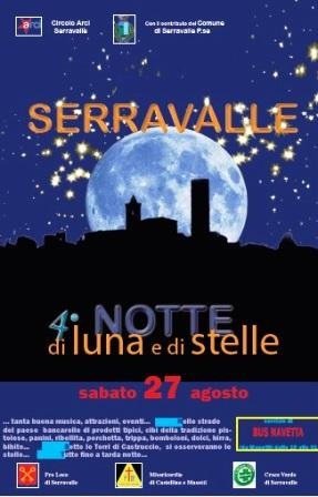"""serravalle. TORNA LA  """"NOTTE DI LUNA E DI STELLE"""""""