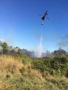 Elicottero in azione ieri pomeriggio a Quarrata