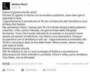 Renzi e il volley. La gente può aspettare...