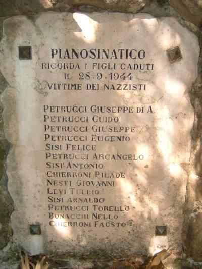 pianosinatico. OGGI 72 ANNI FA L'ECCIDIO DI PIANOSINATICO