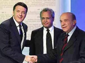 Matteo Renzi, Enrico Mentana e Gustavo Zagrebelsky [ansa - la repubblica web]
