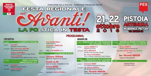 PISTOIA, FESTA REGIONALE DELL'AVANTI
