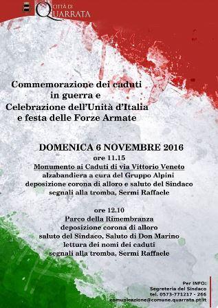 quarrata. FESTA DELL'UNITÀ NAZIONALE E DELLE FORZE ARMATE