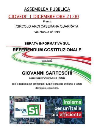 referendum. SERATA INFORMATIVA A CASERANA