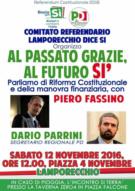 referendum. INCONTRI CON FASSINO E PARRINI