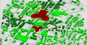 L'impatto nell'area circostante al palazzo comunale