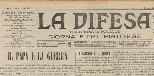 """forteguerriana. """"LA DIOCESI DI PISTOIA TRA GUERRA DI LIBIA E GRANDE GUERRA"""""""