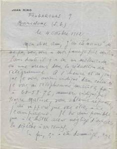 Lettera di Mirò a Marino