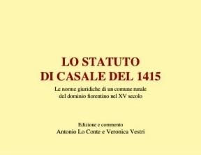 """libri & storia. """"LO STATUTO DI CASALE DEL 1415"""""""