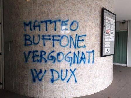 SCRITTA INGIURIOSA DI MATRICE NEOFASCISTA CONTRO BIFFONI
