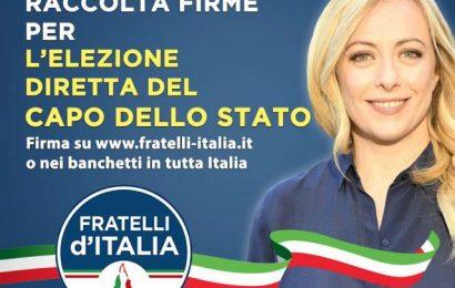presidenzialismo. FRATELLI D'ITALIA LANCIA PETIZIONE