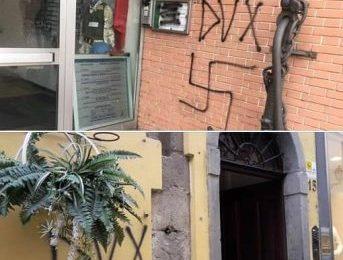 """scritte fasciste. """"GESTI INACCETTABILI, VIETARE IL CORTEO DI FORZA NUOVA"""""""