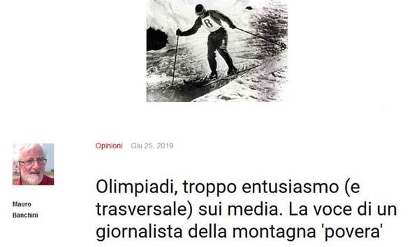 Olimpiadi, troppo entusiasmo (e trasversale) sui media. La voce di un giornalista della montagna 'povera'