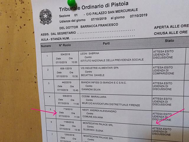 cause. NESTI/COMUNE AGLIANA, IN ARRIVO LA SENTENZA