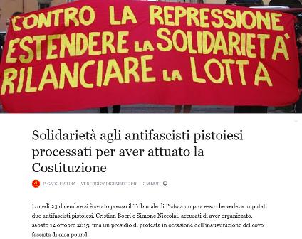 anfifascisti. A PROCESSO PER AVERE ORGANIZZATO UN PRESIDIO DI PROTESTA