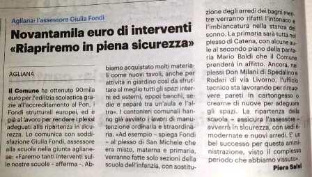 """agliana. """"INTERVENTI ALLE SCUOLE: L'ASSESSORE DI FORZA ITALIA AGLIANA OTTIENE OTTIMI RISULTATI"""""""