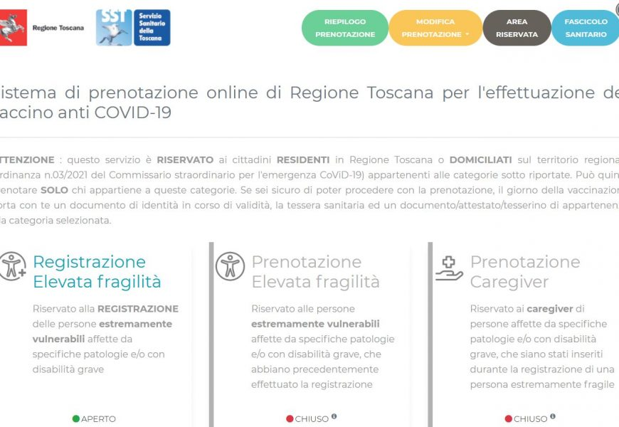 VACCINI, DA SABATO 10 LUGLIO RIAPRE IL PORTALE DELLE PRENOTAZIONI